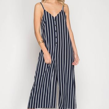 Navy Striped Button Down Jumpsuit