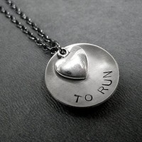 LOVE (Heart) TO RUN Running Necklace Hand Stamped Round Nickel Silver Charm with Pewter Heart on 18 inch Gunmetal Chain