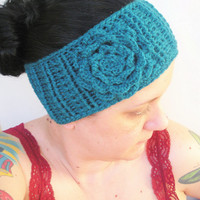 Teal Ear Warmer Headband with Irish Rose, ready to ship.