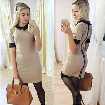 Elegant Short Sleeved Slim Bodycon Peter Pan Collar Casual Dress = 1901104388