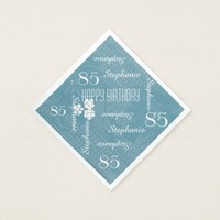 Paper Napkins, 85th Birthday Party, Blue Floral Paper Napkin