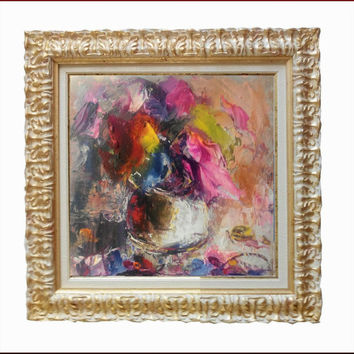 "Italian art ""Flowers abstract"" n03 materic oil painting with frame painter Paolo Massimo Abrans Italy aly"