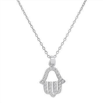 Amanda Rose CZ Hamsa Pendant-Necklace in Sterling Silver on an 18 in. Chain