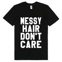 Messy Hair Don't Care Black T-Shirt-Unisex Black T-Shirt