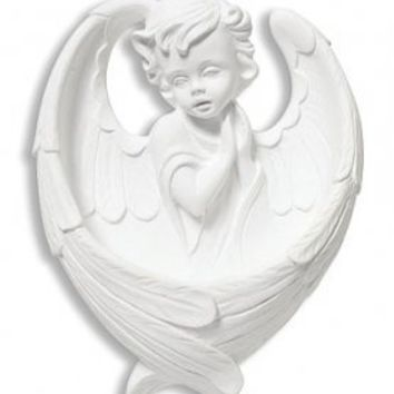 "AT001 Religious Adoring Angel Holy Water Font. White, Material: Resin Size: 6"" H. Holy Water Is One of the Greatest Sacramentals in the Catholic Church. This Pretty Font Not Only Reminds Us to Bless Ourselves with Holy Water Often, but Also to Contemplate"