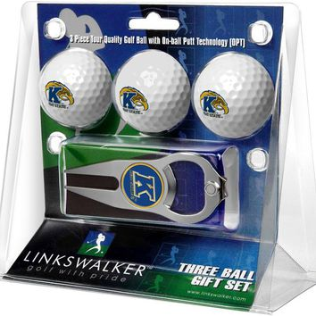 Kent State Golden Flashes 3 Ball Gift Pack with Hat Trick Divot Tool