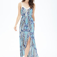 LOVE 21 Paisley M-Slit Maxi Dress Navy/Cream