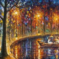 "OUR LITTLE BOAT - Palette Knife Oil Painting On Canvas By Leonid Afremov 48""x36"""