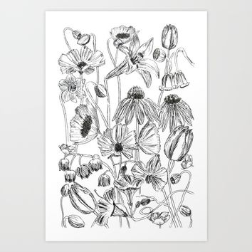 flower party black and white Art Print by Color and Color