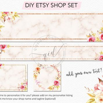 Etsy Branding Set, Etsy Shop Banner Set, DIY watercolor Floral Banner Set with Marble style great for small business
