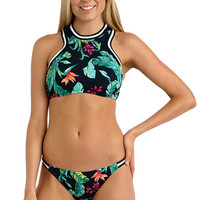 Jungle Out There Sporty High Neck Swimsuit