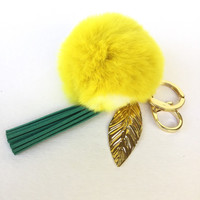LEMON pom pom keychain rex rabbit fur pompon unique bag charm in beautiful yellow color tone with tassel