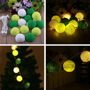 Christmas Cotton 20 Ball Fairy LED 3M String Light Plug Party Wedding Home Decor White+Yellow+Green Gifts