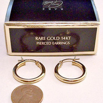 Avon 14KT Yellow Gold 20mm Hoop Pierced Stud Earrings Vintage 1995 Rare 3mm Wide Band Round Open Polished Tube Rings Surgical Steel Post