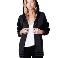 LE3NO Womens Varsity Casual Baseball Fleece Jacket with Hoodie
