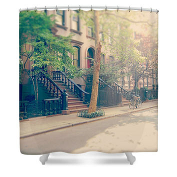 New York City West Village Brownstones Polyester Fabric Shower Curtain