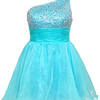Faironly One Shoulder Turquoise Mini Short Cocktail Homecoming Dress F2962 (XL)