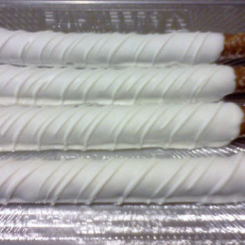 Elegant White Chocolate Covered Pretzel Rods, Baptism, Communion, Wedding, Baby Christening, 1 Dozen