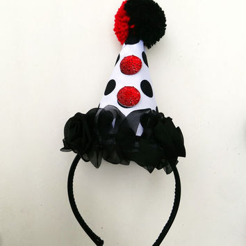 Clown Hat, Circus Costume, Red Hearts, Black and White Polka Dot, Handmade Pom Pom, Burlesque, Halloween Costume, Batcakes Couture