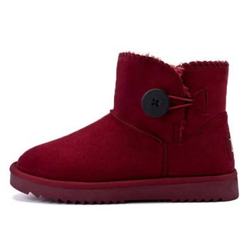Waterproof snow button boots with high-level increase with warm velvet button boots Wine red