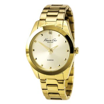 Kenneth Cole KC4949 Women's Rock Out Gold Dial Yellow Gold Steel Diamond Watch