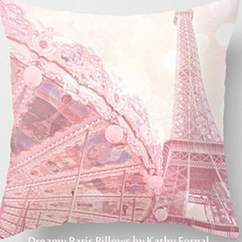 Shabby Chic Peonies Pillow Cover, Shabby Chic Peonies Paris Pillow Cover, Paris Peonies Pillow Home Decor, Pink Peony Decorative Pillow Case