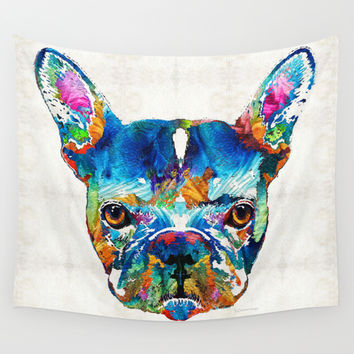 Colorful French Bulldog Dog Art By Sharon Cummings Wall Tapestry by Sharon Cummings