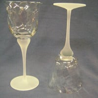 A Set of Two Crystal Clear Industries Valerie Wine Glasses Optic Swirl Goblets Frosted Stem/Base (Two Sets of Two Available)