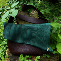Large Chocolate Brown Green Leather Leaf Purse / Bag Tote Sack Woodland Faerie Renaissance Hobbit Earthy LARP Wood Nymph Leaves RenFest