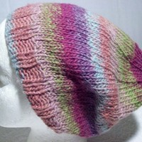 Slouchy Hat Beanie Tam Varigated Multi Rose Stripes Handknit Soft Warm