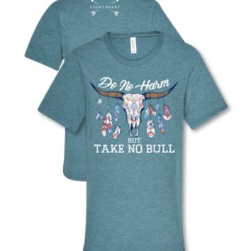 Southern Couture Lightheart Take No Bull Skull Feathers Triblend Front Print T-Shirt