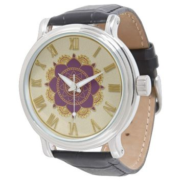 Elegant Golden Roman Numerals Ornamental Watch