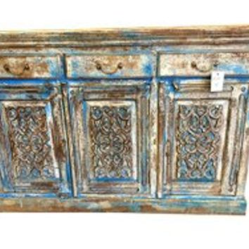 Antique Turquoise Blue Indian Chest Dresser Console Sideboard Buffets with Drawers | Mogul Interior