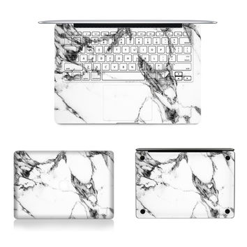 "Laptop Full Vinyl Decal Top Bottom and Keyboard Side White Marble Texture Sticker Skins For Macbook Air Retina Pro 11""12""13""15"""