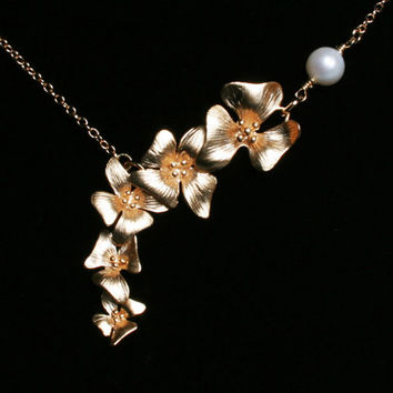 Asymmetrical Orchid Flower Necklace With Fresh by PinkChemistry