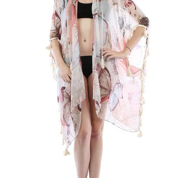 White Butterfly Sun Print Sheer Cover Up Poncho