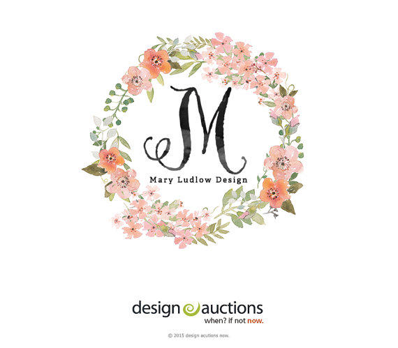 Shop Floral Monograms At Littlebrownnest Etsy Com: Premade Logo Design Watercolor Logo From Designauctionsnow On