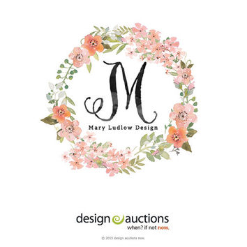 premade logo design watercolor logo chalkboard logo etsy shop logo website logo blog logo watermark monogram logo wreath floral wreath logo