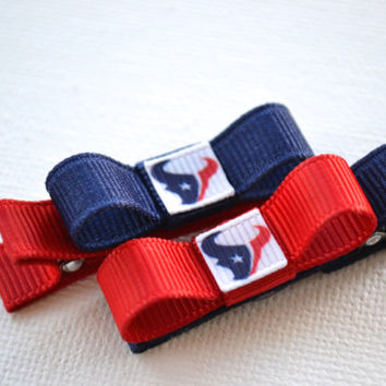 Houston Texans Hair Clips - Toddler Hair Clips - Houston Texans Hair Bows - Houston Texans Stocking Stuffer