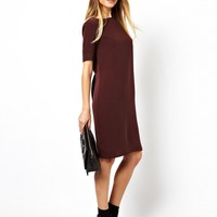 ASOS Shift Dress With Pleat Back And Ribbed Cuff