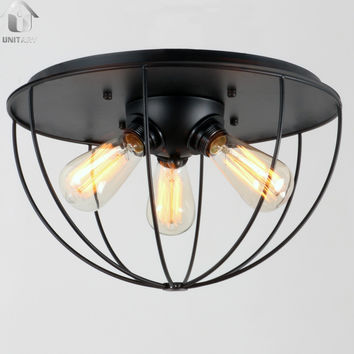 Black Vintage Metal Shade Industrial Flush Mount Light Max. 180W With 3 Lights Painted Finish