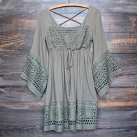 FINAL SALE - boho dress with bell sleeves in olive