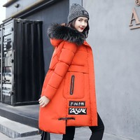 2017 winter Jacket women cotton-padded medium-long slim women's outerwear thickening large fur collar thicken Down&Parkas Coats