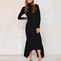 Turtleneck Long Sleeve Knitted Maxi Dress