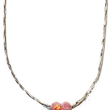 Opal Pink Heart With Silver Necklace - Chain 18 inch  Pendant 1/4 inch  W 1/4 inch  H