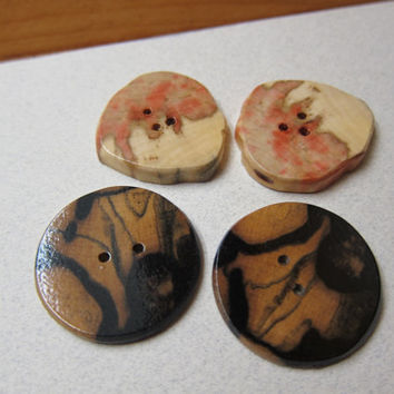 2 Pairs Rare Exotic Wood Buttons Large Handmade ExoticWoodJewelryAnd Ecofriendly repurposed