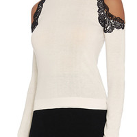 Yigal Azrouel EXCLUSIVE Lace Trim Cut Out Shoulder Knit | INTERMIX