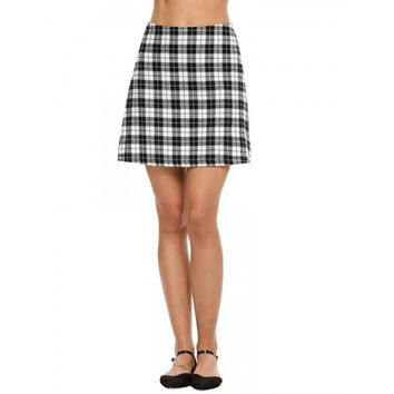 Cotton Plaid Wild A-Line Casual Skirt