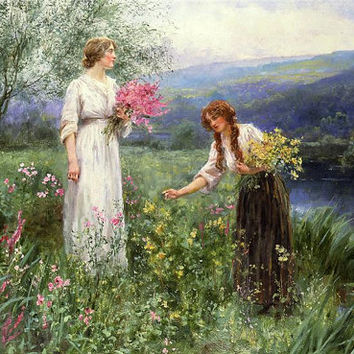 Gathering Flowers by Henry John Yeend King CROSS STITCH PATTERN 865