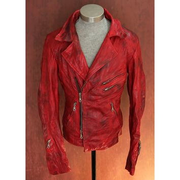 """""""Red Rebel"""" Distressed and Treated Hand Scar Stitched Heavy Washed Lambskin Double Rider Leather Jacket"""